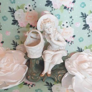 Vintage Ucagco Ceramics Girl Basket Garden Bench